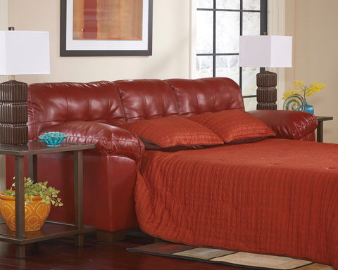 Shop Ashley Furniture Alliston Dura Blend Salsa Queen Sofa Sleeper at Mealey's Furniture