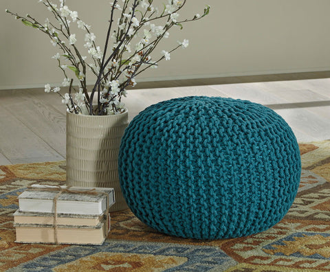 Shop Ashley Furniture Nils Teal Pouf at Mealey's Furniture
