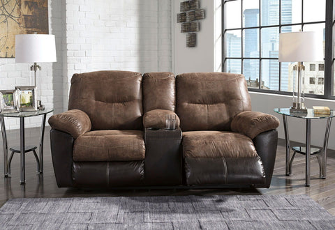 Shop Ashley Furniture Follett Coffee Double Reclining Loveseat W/ Console at Mealey's Furniture