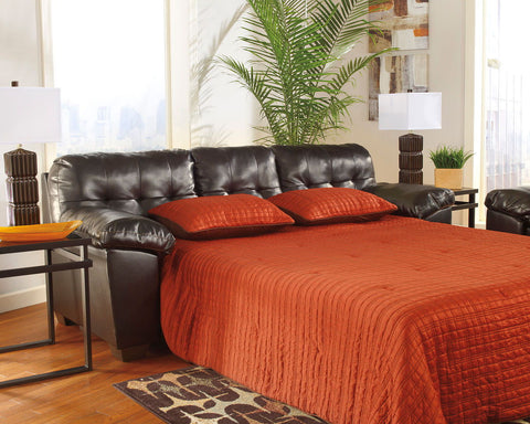 Shop Ashley Furniture Alliston Dura Blend Chocolate Queen Sofa Sleeper at Mealey's Furniture