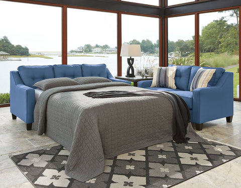 Shop Ashley Furniture Aldie Blue Queen Sofa Chaise Sleeper at Mealey's Furniture