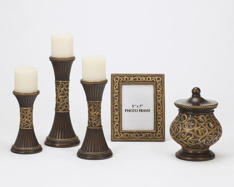 Mariana Bronze/Gold Finish Accessory Set (5/CN)