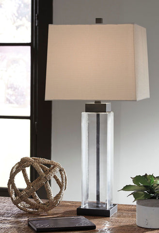 Shop Ashley Furniture Alvaro Clear/Bronze Finish Glass Table Lamp (2/CN) at Mealey's Furniture