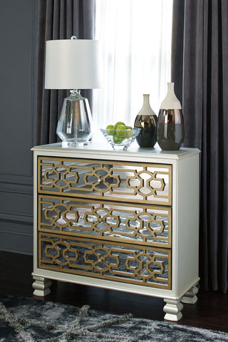 Shop Ashley Furniture Senzernell Gold/Silver Finish Accent Cabinet at Mealey's Furniture