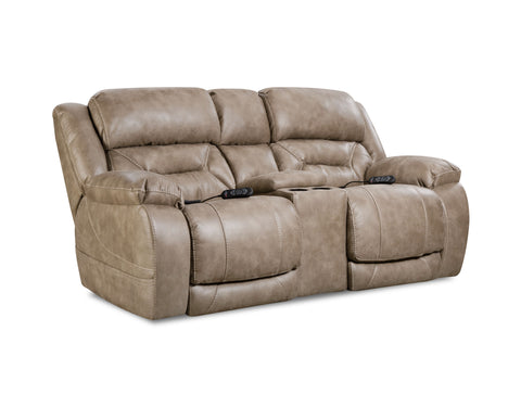 Shop Home Stretch Triple Mushroom So Mushroom Power Reclining Loveseat With Console at Mealey's Furniture