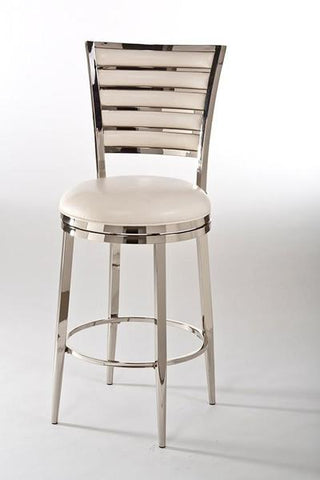 "Shop Hillsdale Rouen 26"" Swivel Counter Stool Nickel Finish / Ivory Faux Leather at Mealey's Furniture"