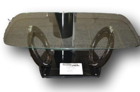 2 Ring Glass Table Black