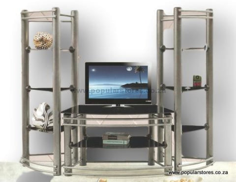 3Pc Glass Tv Stand Silver