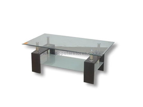 Double Glass Wooden Table Black / Length 110Cms X Height 42Cms Width 60Cms
