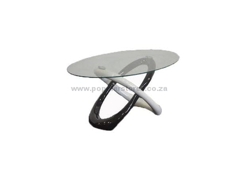 Fancy Oval Coffee Table Black & White