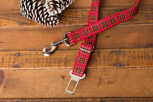 Red Tartan Dog Seatbelt