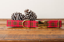 Load image into Gallery viewer, Red Tartan Plaid Dog Collar