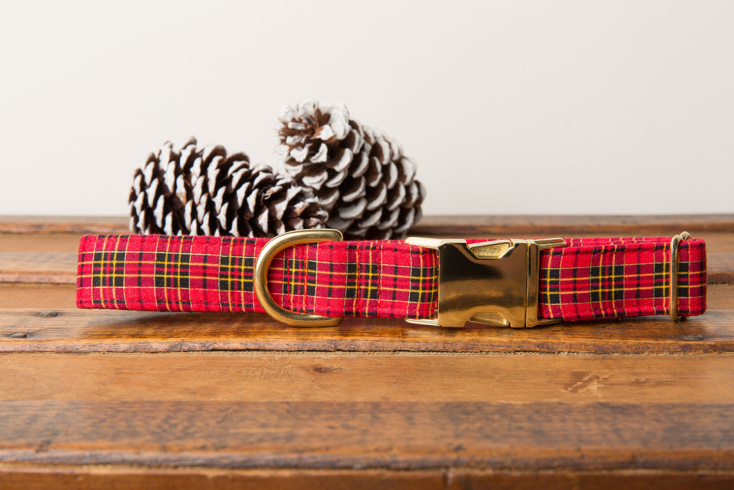 Red Tartan Plaid Dog Collar