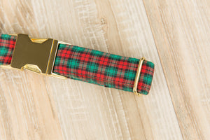Red and Green Plaid Dog Collar
