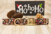 Load image into Gallery viewer, Holly & Pine Cones Dog Collar