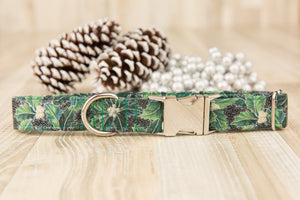 Green Poinsettia Dog Collar