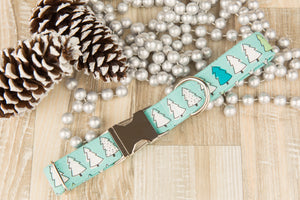 Mint Christmas Trees Dog Collar