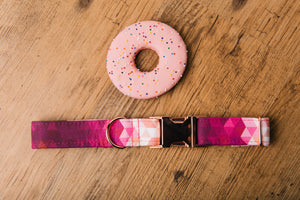 Water Resistant Pink Ombre Rose Gold Dog Collar
