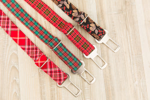 Green and Red Plaid Dog Seatbelt