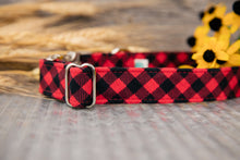 Load image into Gallery viewer, Red Buffalo Plaid Dog Collar