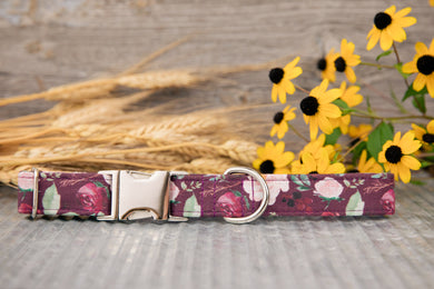 Burgundy Floral Dog Collar