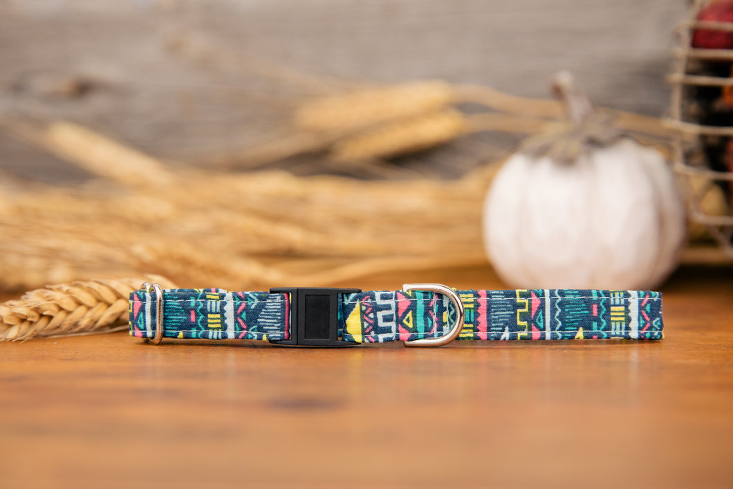 Blue Tribal Cat Collar
