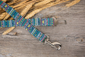 Blue Aztec Dog Seatbelt
