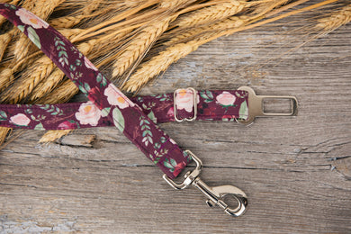 Burgundy Floral Dog Seatbelt
