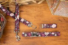 Load image into Gallery viewer, Burgundy Floral Dog Seatbelt