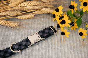 Black Buffalo Plaid Dog Collar