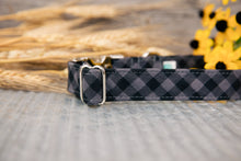 Load image into Gallery viewer, Black Buffalo Plaid Dog Collar