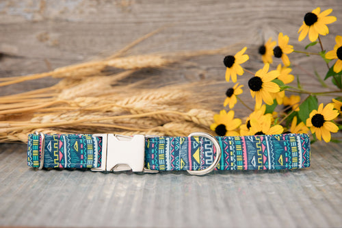 Tribal Blue Dog Collar