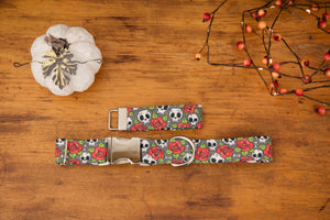 Skulls and Roses Dog Collar