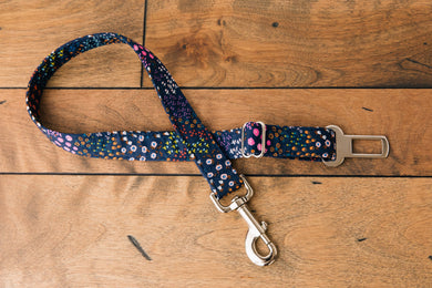 Navy Floral Dog Seatbelt