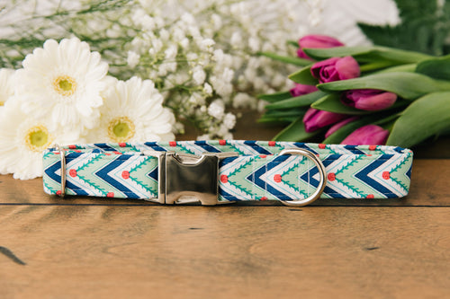 Green Chevron Dog Collar