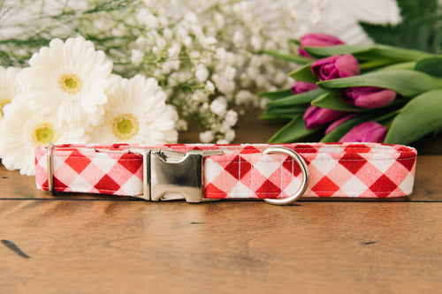 Red Picnic Plaid Dog Collar