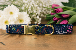 Navy Floral Dog Collar