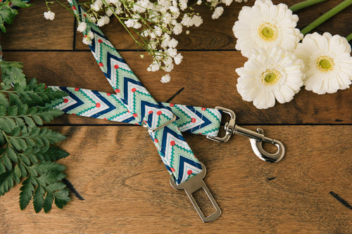 Green Chevron Dog Seatbelt