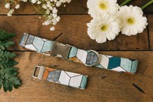Load image into Gallery viewer, Water Resistant Blue and Tan Geometric Dog Collar