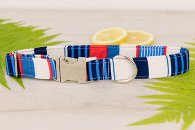 Nautical Striped Dog Collar
