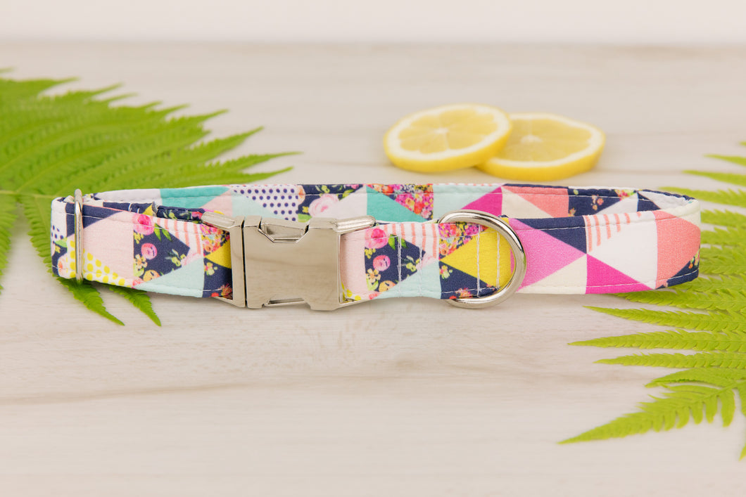 Pink Geometric Dog Collar