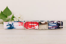 Load image into Gallery viewer, Red White and Blue Stars Watercolour Dog Collar