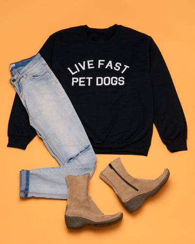 Unisex Crew Neck Sweatshirt - Live Fast Pet Dogs