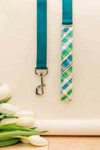 Teal Plaid Customizable Matching Dog Leash