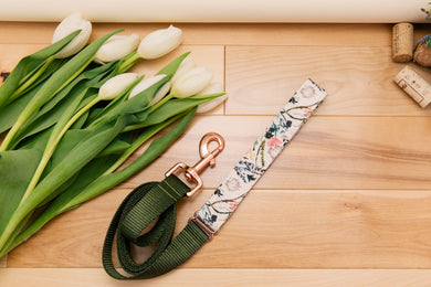 Blush Floral and Rose Gold Customizable Matching Dog Leash