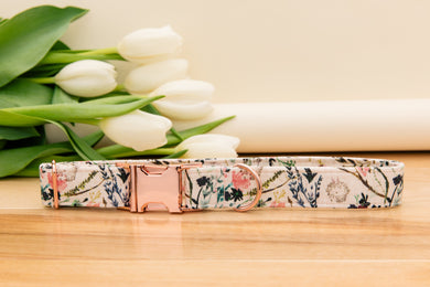 Blush Floral and Rose Gold Dog Collar