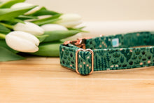 Load image into Gallery viewer, Green Cactus Dog Collar with Rose Gold Buckle
