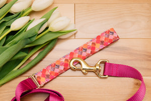 Pink and Gold Moroccan Customizable Matching Dog Leash
