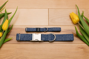 Denim Linen Blend Breakaway Cat Collar