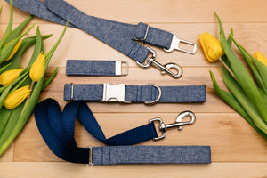 Denim Linen Blend Dog Seatbelt